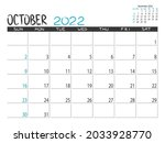 calendar 2022 year. october... | Shutterstock .eps vector #2033928770