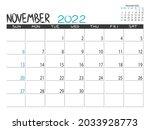 calendar 2022 year. november... | Shutterstock .eps vector #2033928773