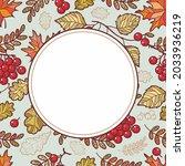 frame made of autumn leaves oak ...   Shutterstock .eps vector #2033936219