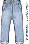 girls denim with palm prints   Shutterstock .eps vector #2034024980