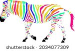 colorful plains zebra with... | Shutterstock .eps vector #2034077309
