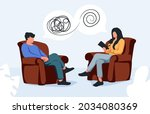 therapist and patient talking... | Shutterstock .eps vector #2034080369