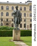 Prague.  Monument to the composer Antonin Dvorak
