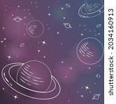 vector of white outline planets ... | Shutterstock .eps vector #2034160913