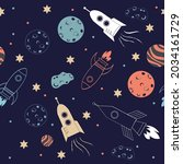 vector of rocket ships  planets ... | Shutterstock .eps vector #2034161729