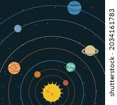 vector of colourful planets and ... | Shutterstock .eps vector #2034161783