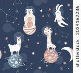 vector of llama  bear and... | Shutterstock .eps vector #2034162236