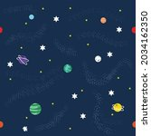 vector of colourful planets and ... | Shutterstock .eps vector #2034162350
