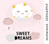 vector of sweet dreams text  in ... | Shutterstock .eps vector #2034163919