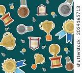 vector of sports cups  trophies ... | Shutterstock .eps vector #2034165713