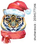tiger in santa claus hat and...   Shutterstock . vector #2034177146