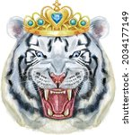 hand drawn tiger with golden...   Shutterstock . vector #2034177149