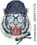 hand drawn tiger in black...   Shutterstock . vector #2034177173