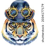 tiger in a bowler hat and...   Shutterstock . vector #2034177179