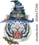 hand drawn tiger in witch hat....   Shutterstock . vector #2034177200