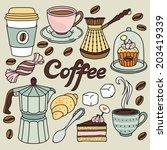 hand drawn coffee set   Shutterstock .eps vector #203419339