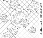 coloring book for adults. a cup ... | Shutterstock .eps vector #2034240689