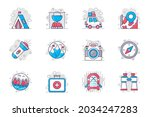 camping concept flat line icons ... | Shutterstock .eps vector #2034247283