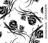 interlacing black flowers... | Shutterstock .eps vector #203426890