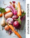 assorted types of root... | Shutterstock . vector #203426998