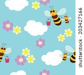 bee in blue sky gather honey | Shutterstock .eps vector #203427166