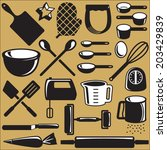 set of baking tool objects | Shutterstock .eps vector #203429839