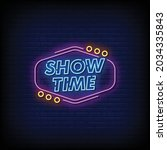 show time neon signs style text ... | Shutterstock .eps vector #2034335843