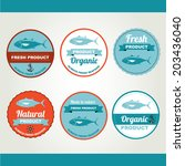 set of seafood icons. retro... | Shutterstock .eps vector #203436040