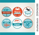 set of seafood icons  crab ... | Shutterstock .eps vector #203436088