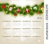 2015 new year calendar vector... | Shutterstock .eps vector #203436190