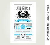 barbecue party invitation. bbq... | Shutterstock .eps vector #203437486