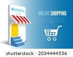 online shopping banner with... | Shutterstock .eps vector #2034444536