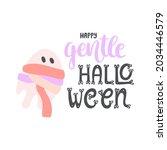 cute pastel halloween card....   Shutterstock .eps vector #2034446579