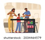 happy family cooking at home ... | Shutterstock .eps vector #2034464579