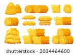 set of icons bale of hay...   Shutterstock .eps vector #2034464600