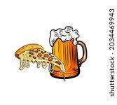 vector beer mug and pizza slice ... | Shutterstock .eps vector #2034469943