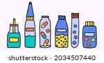 vector set of medicines  ...   Shutterstock .eps vector #2034507440