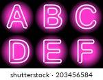 neon letters | Shutterstock .eps vector #203456584