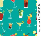 set of famous cocktails blue... | Shutterstock .eps vector #203459554