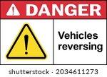 vehicles reversing danger sign. ... | Shutterstock .eps vector #2034611273