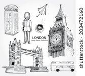 hand drawn of london set. | Shutterstock .eps vector #203472160