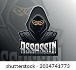 pink cloaked Assassin vector design illustration, suitable for modern illustration concept for team printing, badge, emblem, t-shirt etc.
