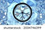 frozen car wheel in shape of...
