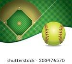 an illustration of a softball... | Shutterstock .eps vector #203476570