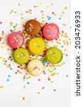 sweet colorful macaroons   Shutterstock . vector #203476933