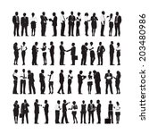 silhouettes of business people... | Shutterstock .eps vector #203480986