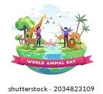people celebrate world animal... | Shutterstock .eps vector #2034823109