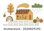 fall cottage  pumpkin. rural...   Shutterstock .eps vector #2034829190