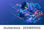 computer technology isometric... | Shutterstock .eps vector #2034850433