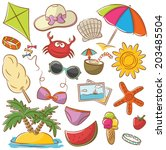 summer beach rest doodle icons... | Shutterstock .eps vector #203485504